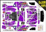 PURPLE Sharks Teeth themed vinyl SKIN Kit To Fit Traxxas Slash 4x4 Short Course Truck